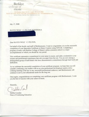 Berklee College of Music  Cover Letter  07 17 2008